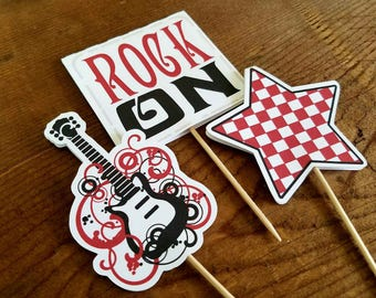 Rock Star Party - Set of 12 Double Sided Assorted Rock Star Cupcake Toppers by The Birthday House