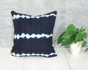Indigo Mudcloth Pillow Cover Bogolanfini Linen White Navy African Mud Cloth Handmade Organic Cotton Natural Dye Various Sizes Boho Modern