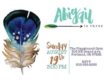Feathers & Arrows Birthday Invitation