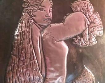vintage copper wall art, 3D copper wall art, Spanish lady copper wall art, Spanish dancer copper wall art, vintage wall art