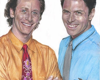"""Print of """"Wings""""' Steven Weber as Brian Hackett and Tim Daly as Joe Hackett Colored Pencil Drawing"""