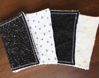 Constellation Bundle, baby burp cloths, burp cloth set, star nursery, star baby, space nursery, space baby, baby gift, gender neutral, gold