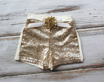 Gold Sequin Shorts with Gold Flower- Birthday Outfit- Girls Gold Sequin Shorts- Toddler Shorts- Sequin shorts- Girls shorts- Birthday Girl