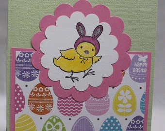 Happy Easter card, Chick with Bunny Ears card, Easter greetings card