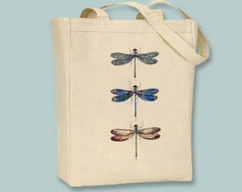 Three Gorgeous Vintage Dragonflies Dragonfly Illustration Canvas Tote - Selection of  sizes , choice of image color available