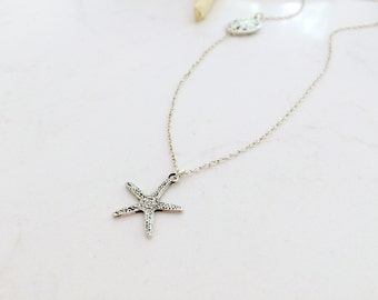 Silver Starfish and Sand dollar Necklace Silver Starfish jewelry Sand dollar Jewelry Sideways Sand dollar beach wedding beach jewelry gift