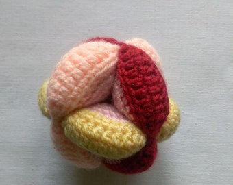 Amish Puzzle Ball,  Baby Toy, Crochet Puzzle Ball, Knit Baby Gift
