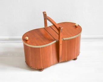 Vintage sewing basket, knitting box, jewelry box, teak sewing box, Mid-Century Modern 60s