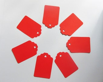 Red Tags, Hand Punched for Welcome Bags, Favors, Labeling, Scrapbooking, Gift Cards, Thank You, Party, Craft Show or Price Tags, Set of 30