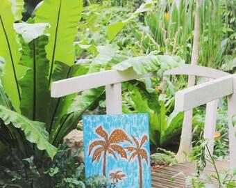 Palm tree wall art,Gold palm trees, Palm tree art gift,blue canvas art