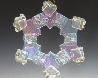 MERRY Crystalline Clear Iridized Snowflake, Fused Glass Ornament Suncatcher