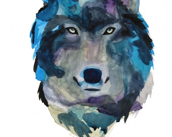 Wolf Watercolor Art Print Native American Painting Northern Game of Thrones LOTR Winter