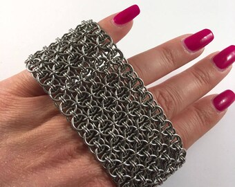 Chainmaille cuff - Helm maille bracelet - Chunky bracelet
