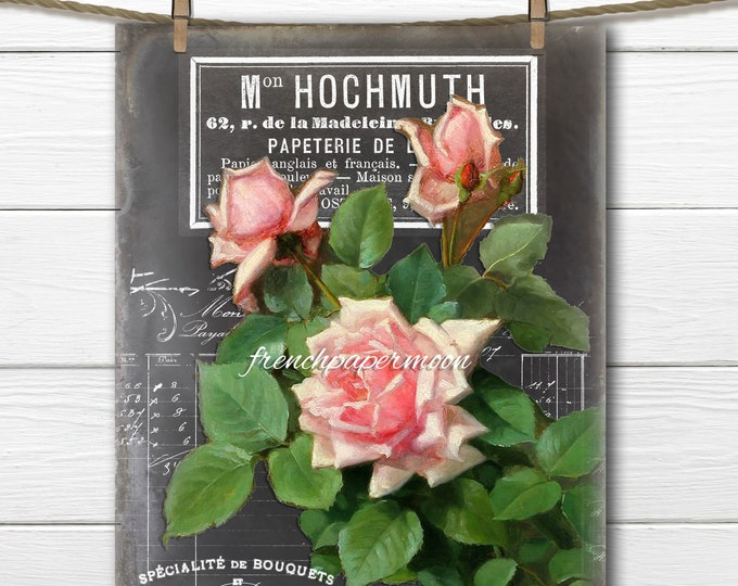 Vintage Digital Chalkboard Roses, Victorian Roses, French Pillow Image, Large Size Image Transfer, French Crafts