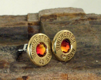 Winchester 40 S&W - Fire Opal - Bullet Earrings - Ultra Thin