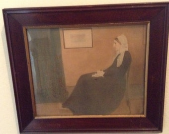Whistler's Mother - Arrangement in Gray and Black No 1 - James McNeill Whistlers - American Artist - framed art print  - 50s reproduction