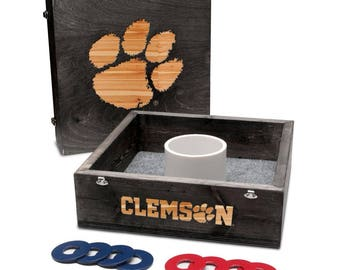 Clemson University Tigers Washer Game Set Onyx Stained