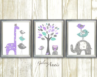 Baby Girl Nursery Decor Purple gray aqua nursery Baby room decor giraffe Elephant Tree Birds Owl room decor Set of three prints