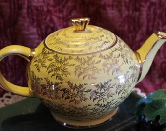 James Sadler Teapot - Yellow with Gold Flowers, 1232, 4 cup, Made in England