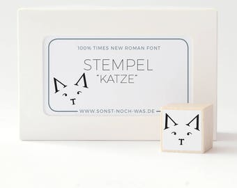 """Rubber Stamp """"Typography Cat"""" - animal times new roman character simplistic black and white modern"""