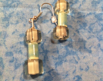 Cane Glass Earrings - Aqua