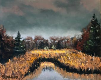 Pastel Painting Woodland Marsh Painted by Wendy Johnston