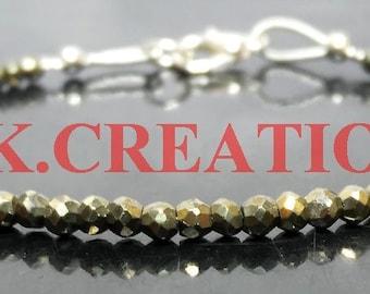 30% Off, Natural Pyrite Gemstone Faceted Rondelle Beads Bracelet, Dainty Tiny Bracelet, 925 Silver Filled Pyrite Beads Bracelet