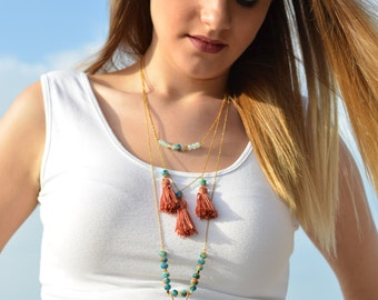 Layering necklaces, Boho necklace, Boho jewelry set, Layered jewelry, Gemstone necklace, Tassel necklace, Multi Strand, Bohemian, Summer