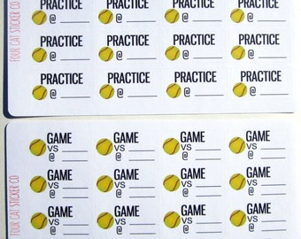Softball Practice or Game Planner Stickers, Sports, Matte Removable