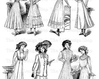Young Lady Clip Art Vintage Edwardian Fashion Illustration Iron On Transfer Digital Download PNG JPG Image