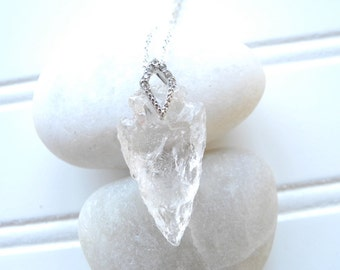 Raw Crystal Quartz Arrowhead Necklace, Quartz Necklace, Arrowhead Necklace