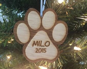 Dog Paw Christmas Ornament, Dog Christmas Ornament, Personalized Christmas Ornament, Engraved Wood Christmas Ornament