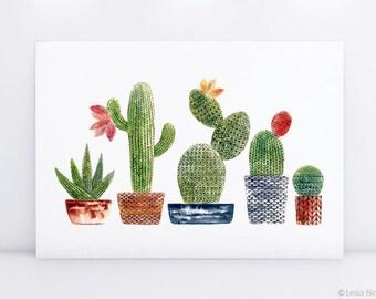 Cactus art, cactus print, watercolor flower, cactus painting, succulent print, crochet cactus, watercolor cactus, watercolor succulent