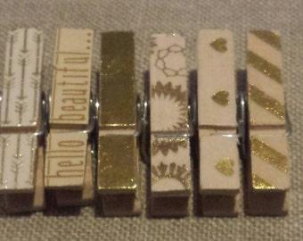 Mini gold clothespins- set of 6