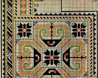 Antique Bulgarian Cross Stitch (1900s) - Tablecloth - Instant Download