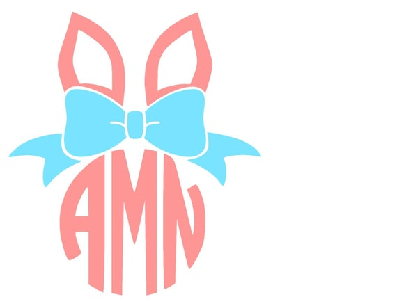 Easter Bunny Ears With Bow Svg Or Silhouette Instant Download