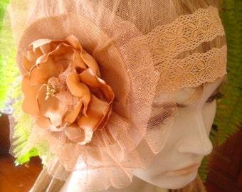 Wedding Headpiece Bridal Hairpiece  vintage style fascinator boho hippie