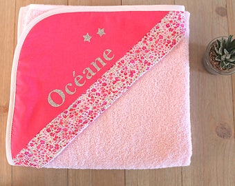 Hooded baby towel customized Liberty / bath towel personalized name