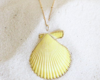 Sea Shell, Necklace, 14k Gold Filled Chain, Tahitian, Pendant, Floating, Hawaiian, Festival, Etsy, Wire, Necklace, Mermaid,