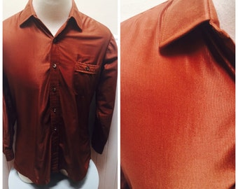 Vintage 1970s Brown Textured Corduroy Detail Men's Shirt- L/46