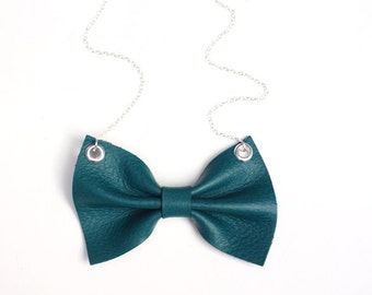 Leather Bow Necklace - turquoise