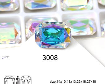 Rectangle Crystal AB 14*10mm 18*13mm 25*18mm 27*18.5mm 37*25.5mm Dongzhou Fancy Stones