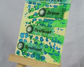 Mixed media ACEO ATC, artist trading card, gift for her, gift for him, encouragement gift, free US shipping, Mother's Day gift