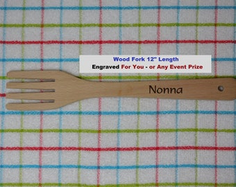 Fork Personalized Kitchen Utensil Cooking Serving Pasta Salad Contest Engrave Name Nonna Papa Mangia Mom Gift Cook Event Winner Prize Wood