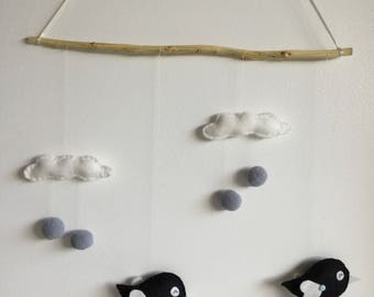 Felt baby/child birds and clouds mobile/suspension