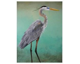 Great Blue Heron Malerei - Ufer Vogelkunst - Strand Haus Dekor - 18 x 24 - original Shorebird - Great Blue Heron-Kunst - Malerei Aqua Grün