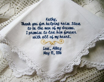 Stepmother- Mother of the Groom Gift- Embroidered Handkerchief Choose Your Wording and Design