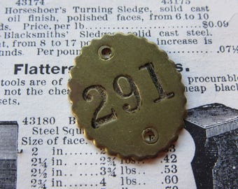 Number Tag Vintage Original Number 291 Tag #291 Antique Brass Metal Scalloped Edge Tag Jewelry Pendant Address Door Apartment Number 1900's