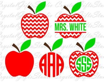 Chevron apple monogram svg, chevron apple svg, apple svg, teacher svg, teacherlife svg, svg files, svg, cricut,silhouette,instant download