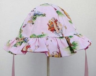 Girls Cotton Reversible Sunhat with Fancy Nancy Character Print